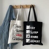 Essen Schlaf Anime Wiederholen Lustige Japanischen Tote Tasche Schulter Taschen Große Kapazität Mode Lässig Handtasche Totebags Geschenk