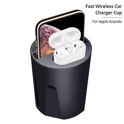 Carprie X9A 4w1 10W bezprzewodowa ładowarka qi kubek samochodowy z wyjściem USB dla iPhone 11/Pro/Pro Max dla Airpods 2. Ładowarka samochodowa 19Oct27