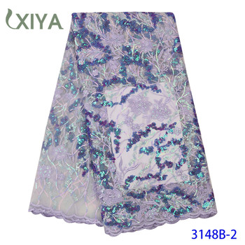 Embroidery Flowers Pattern Sequence Lace Fabric Luxury African Lace Fabric with Sequins Nigerian Tulle Mesh Lace APW3148B