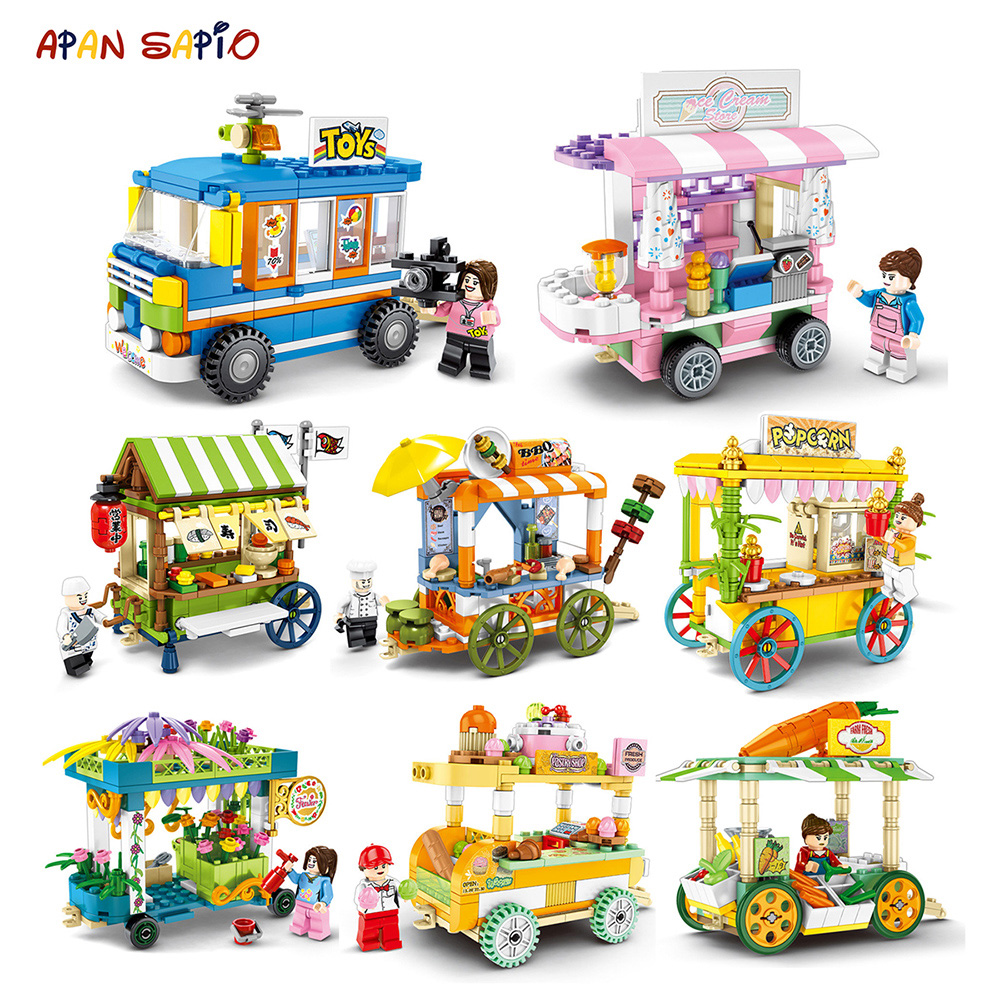 City Street Building Blocks Snack Stall Ice Cream Car Truck Educational Toys For Children Bricks Compatible With Brands Friends