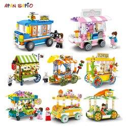 Ulica miasta klocki przekąska stoisko lody samochód ciężarówka edukacyjne zabawki dla dzieci cegły kompatybilne z przyjaciółmi marek