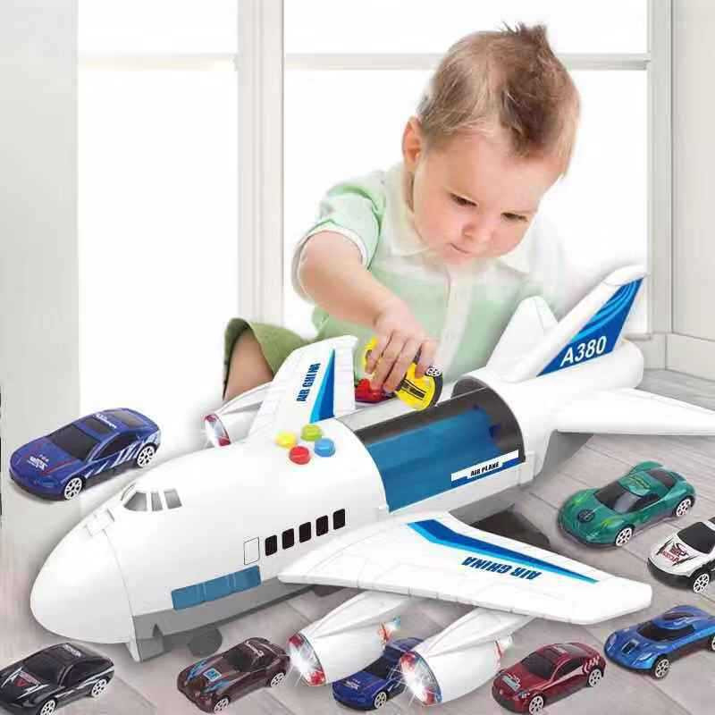 Children's toy aircraft boy baby oversized music track resistance to fall inertia toy car simulation passenger model image
