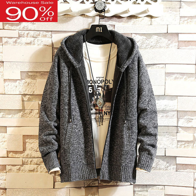 Men Sweater With A Hood Think 2020 New Arrival Winter Plus Velvet To Keep Warm Zipper Male Knitted Cardigan Student Coat M53