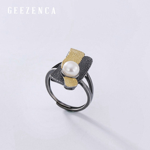 925 Sterling Silver Black Gold plated Rectangle Pearl Open Ring For Women Fine Jewelry 2019 Autumn New Vintage  Rings Gift