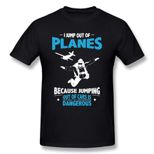 I Jump from Planes Tee Shirts Jumping from Cars is Dangerous Skydiving Funny Men's Pure Cotton T-Shirts Short Sleeves T Shirts socks crumb i planes blue