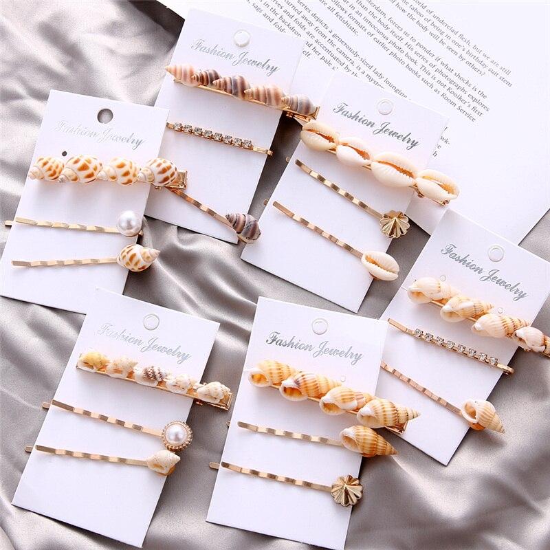 Fashion Imitation Pearl Hair Clip Set Shell Hair Grip Crystal Hairpin Hair Clip Hair Accessories for Women Girl Flowers Hairpins
