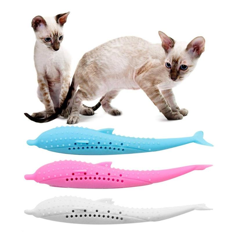 Cat Catnip Fish Shaped Toy for Cat Kitten Toothbrush Silicone Teeth Cleaning Molar Stick Toy Cat Product image
