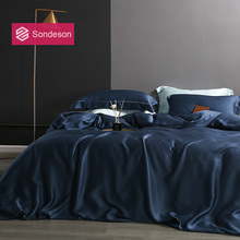 Sondeson Beauty 100% Silk Dark Blue Bedding Set 25 Momme Silk Healthy Skin Luxury Duvet Cover Bed Linen Double Queen King Set