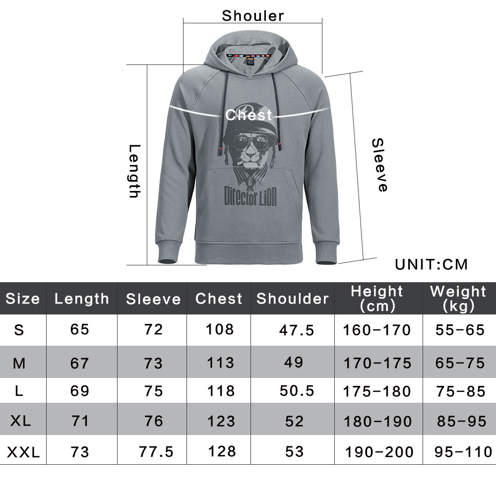 Tactical Hooded Sweater Loose Hoodie Outdoor Sports Men's Autumn and Winter Coat Command Lion Pattern