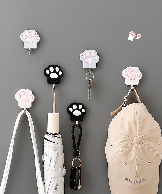 Cat-pad Shape Hangers Key Holder Wall Hook Coat Clothes Hanger Towel Holder Home Organizer Wall Decoration