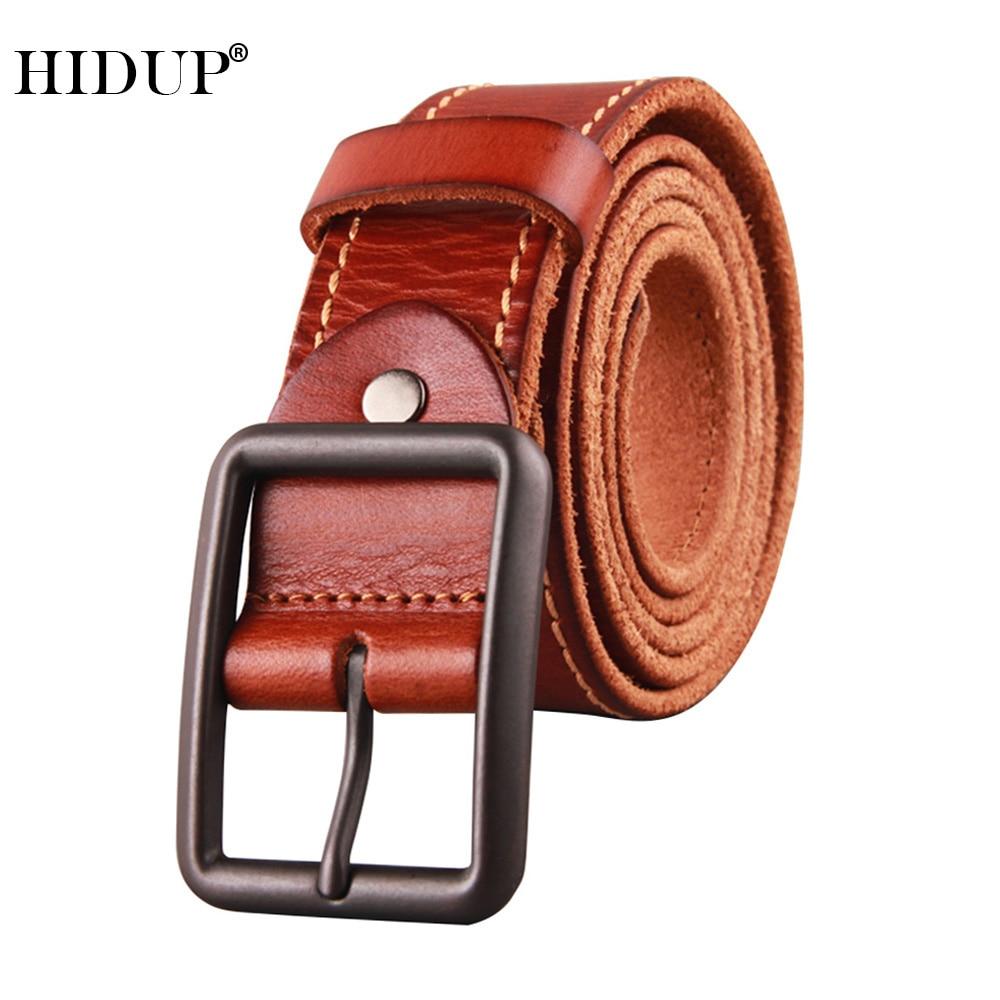 HIDUP Top Quality Solid Cowhide Leather Belts Design Black Pin Buckle Metal Belt for Men Jeans Accessories 3.8cm Width NWJ946