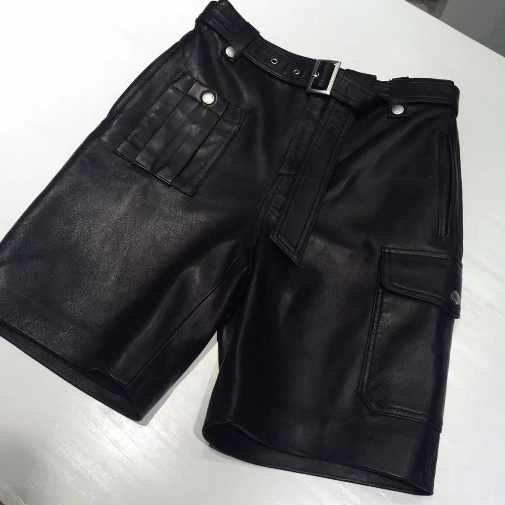 2019 autumn new women's fashion belt sheepskin shorts 0827