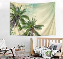 цена на Tropical Plants Tree Beach Print Wall Tapestry Seaside Scenery Wall Hanging Tapestry Fabric Large Beach Blanket Art Home Decor