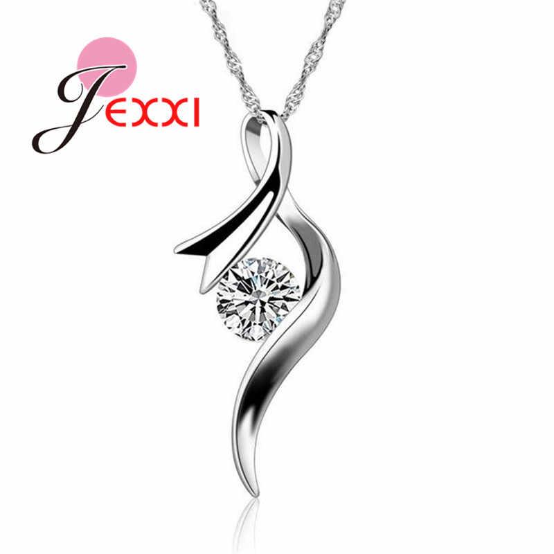Baru Kedatangan Wanita Gaya Eropa Gadis Hadiah Kubik Zircon Liontin Kalung 925 Sterling Silver Perhiasan Rantai Gratis Pengiriman