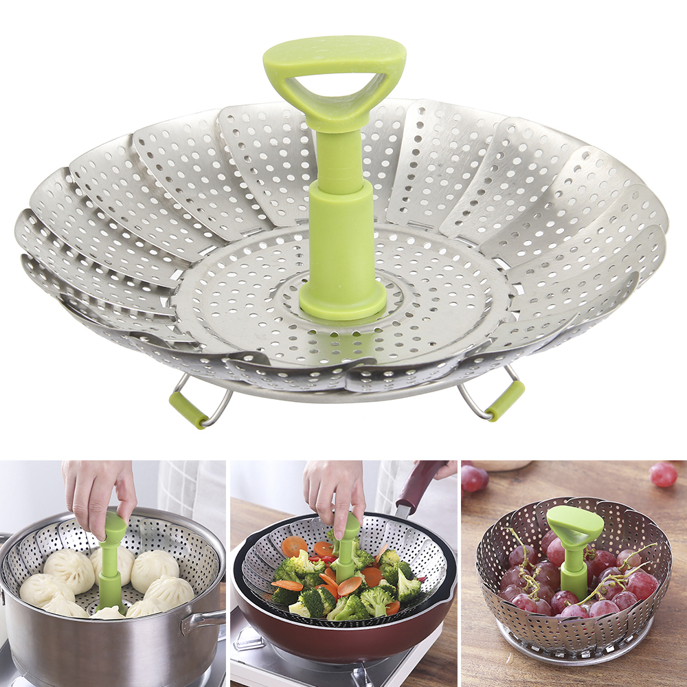 Steamers Basket Dish Cookware Steaming Stainless Steamer Folding Food Fruit Vegetable Vapor Cooker Kitchen Gadgets Cooking Tool