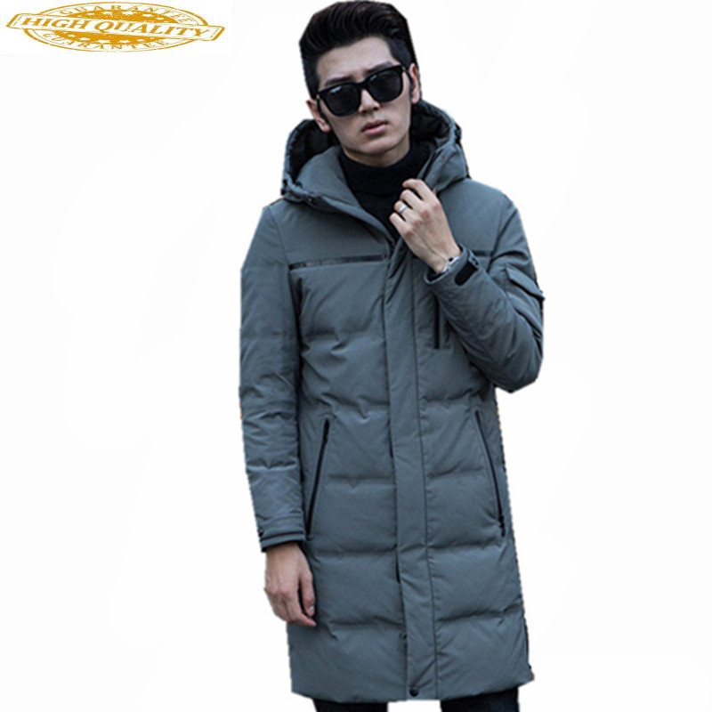 Fashion White Duck Down Jacket Men Warm Hooded Mens Winter Parkas Thick Men's Jackets Solid Coat Casaco Masculino WXF417