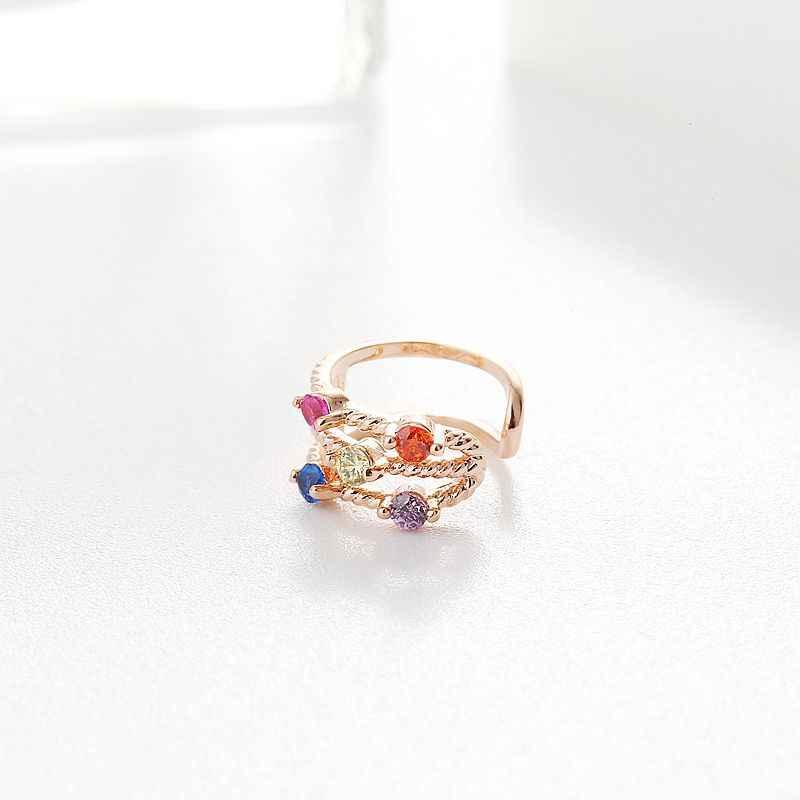 Exquis pas de trou d'oreille coloré cubique Zircon petite oreille manchette Rose or couleur Clip boucle d'oreille pour les femmes