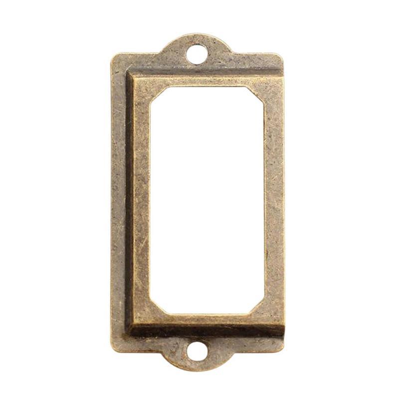 12Pcs Antique Brass Metal Label Pull Frame Handle File Name Card Holder 70x33mm