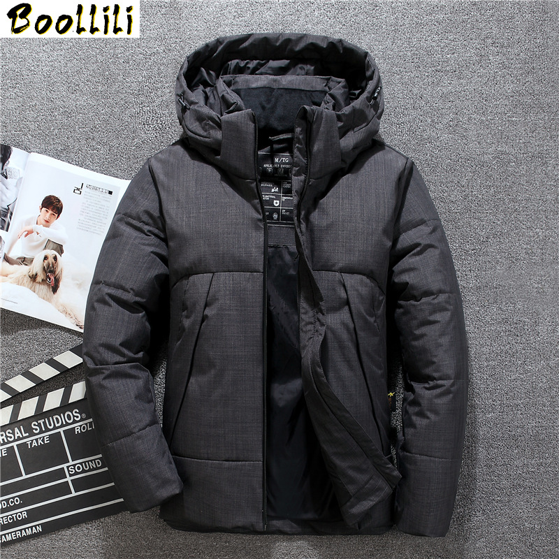 2020 Winter New Men's Long White Duck Down Jacket High Quality Fashion Casual Hooded Thick Warm Coat Male Brand Clothing