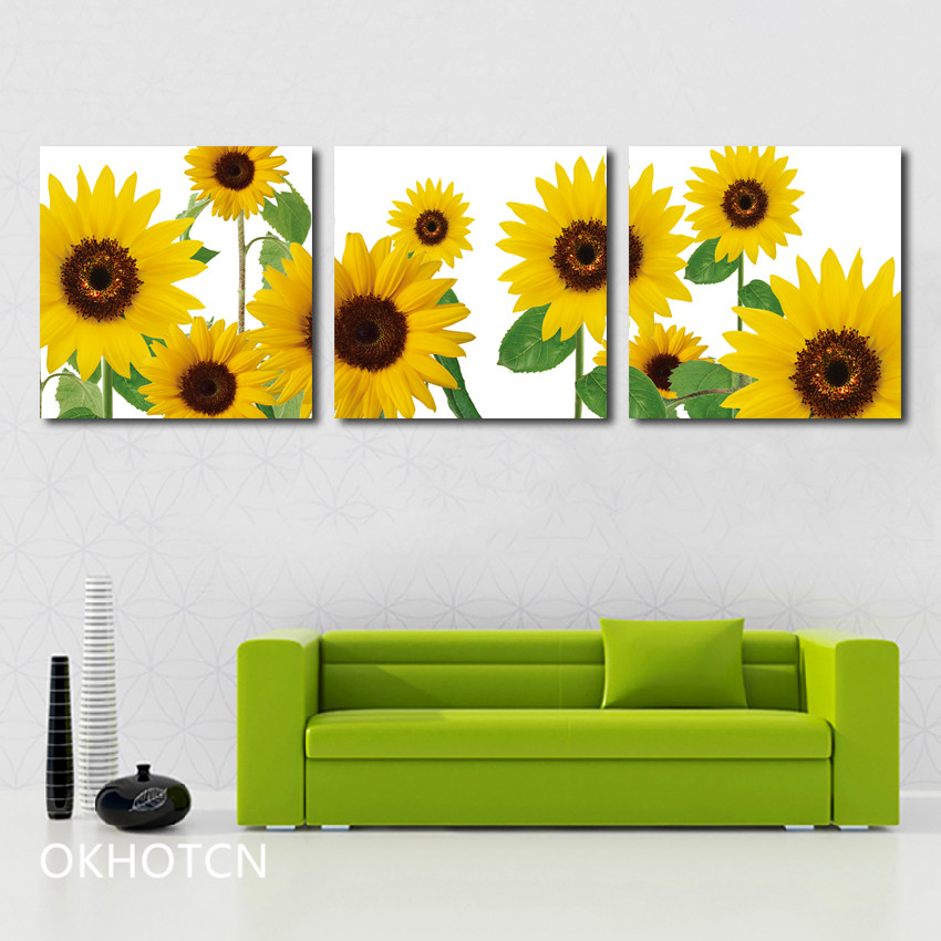 Sunflower Poster Vintage Yellowing Flower Canvas Painting Home Decoration Art Wall Pictures For Kitchen Living Room
