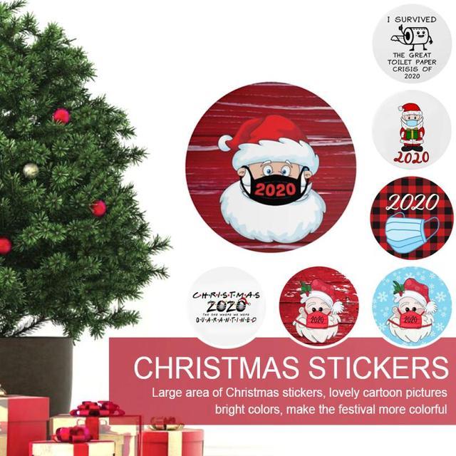 Duża okrągła naklejki świąteczne Cute Cartoon drzwi okno świąteczne dekoracje Xmas naklejki 8in 21cm tanie i dobre opinie CN (pochodzenie) Nowoczesne Papier 3d naklejki CHRISTMAS STICKER 21x21cm