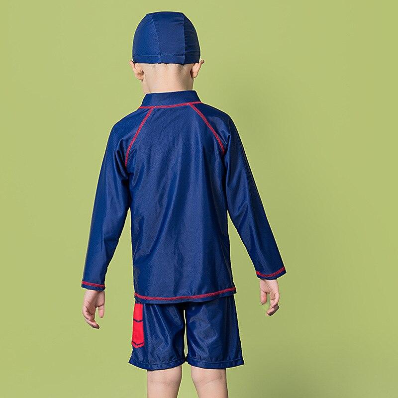 KID'S Swimwear Boy 2-12-Year-Old Cute BOY'S Bubble Hot Spring Split Type Tour Bathing Suit Long Sleeve Sun-resistant Swimwear Wi