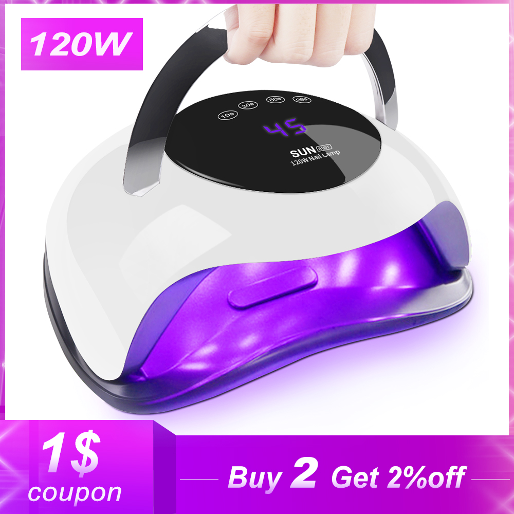 120W High Power Nail Dryer Fast Curing Speed Gel Light Nail Lamp LED UV Lamps For All Kinds of Gel With Timer And Smart Sensor(China)