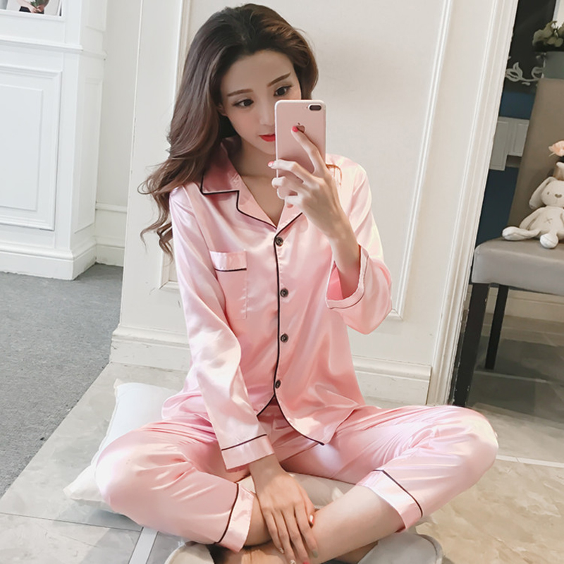 Womens Silk Satin Long Sleeve Pajamas Set Night Sleep Suit Sleepwear nightwear