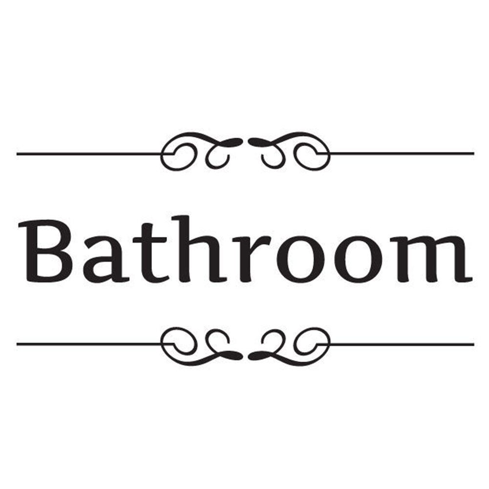 English label Wall Sticker Toilet/Bathroom Door Decal Removable Self-Adhesive And Decoration