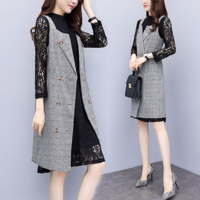 2018 Autumn And Winter New Style Korean-style Fashion Mid-length Long Sleeve Lace Underwear Suit Dress