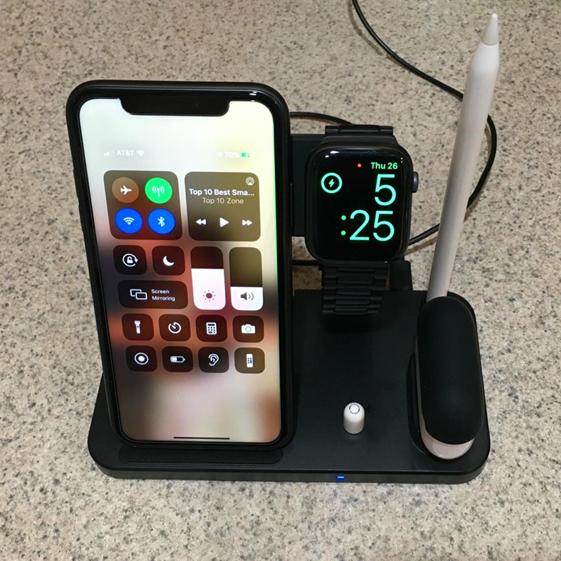 4 in 1 Wireless QI 10W Fast  Charging Dock Stand For iphone 11 Pro 8 XR XS For Apple Watch 5 4 Airpods Pro Pencil Charge