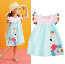 Robe d'été à rayures pour bébé fille de 1 à 6 ans, imprimé de flamand rose, vêtements d'enfants animaux