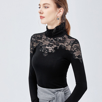 Black turtleneck bottoming shirt women's 2019 autumn and winter wear long-sleeved t-shirt stitching sexy hollow lace tights black lace details stitching design round neck long sleeves t shirt