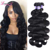 Longqi Human Hair Bundles 1 3 4 Bundles Brazilian Body Wave Bundles Natural Black Remy Human Hair Weave Bundles 8 - 26 Inch