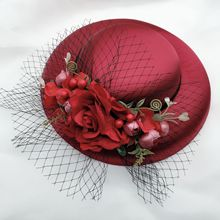 Wholesale Large Wedding Hat Red Beige Forest Flower Fruit Veil Bride Headwear Cocktail Evening Party