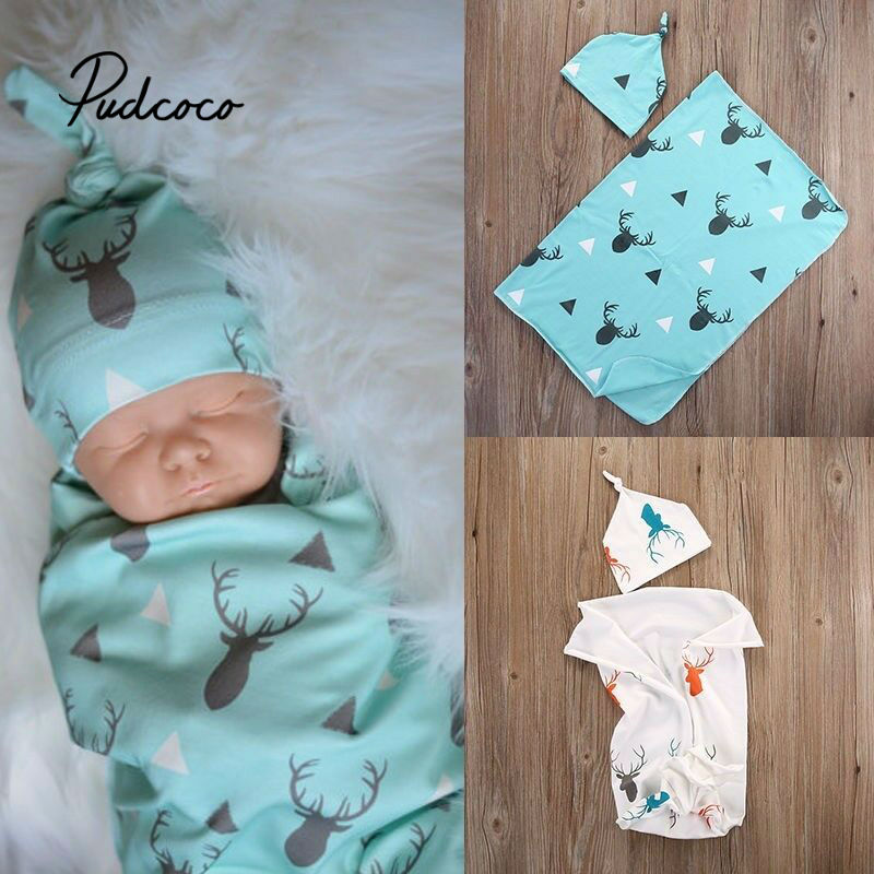 2020 Hot Sale Toddler Kids Newborn Baby Boys Girls Stretch Cotton Deer Wrap Swaddle Animal Blanket Bath Towels Sleeping Blankets