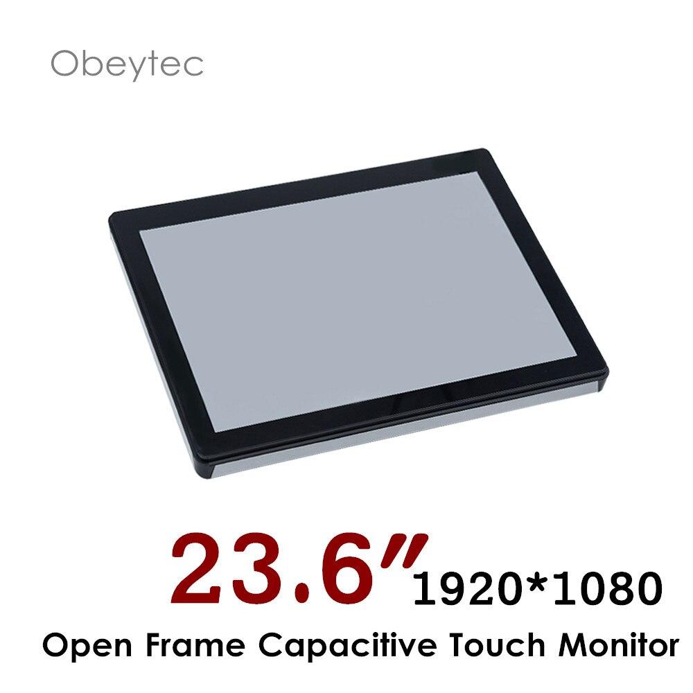 Monitor de pantalla táctil de Marco abierto de 23,6 pulgadas, monitor fhd 1920*1080, 2300cd/m2, pantalla táctil capactive PCAP, OB-OPM-236