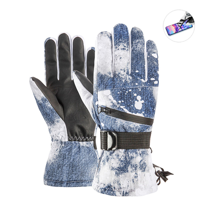 Men Women Ski Gloves Winter Warm Waterproof Anti-slip Snowboard Touch Screen Snow Gloves Printed White Skiing Mittens