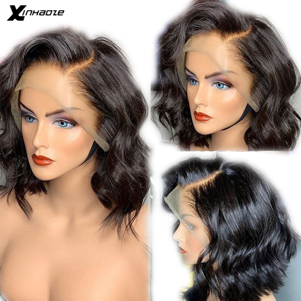 Short Bob Wig Lace Wig with Natural Hairline Side Part Body Wave Lace Front Human Hair Wig Brazilian Remy Hair Bleached Knots