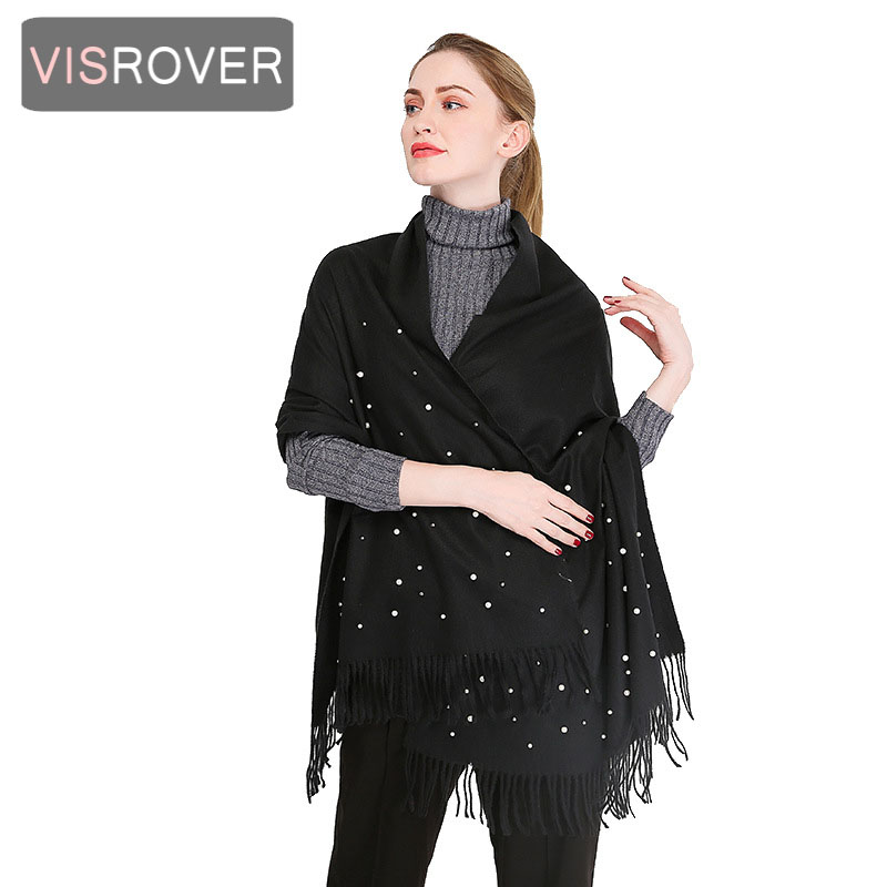 VISROVER New Woman Winter Scarf With Pearl Fashion Female Shawls Solid Color Cashmere Scarves Winter Wrap Winter Hijab Wholesale