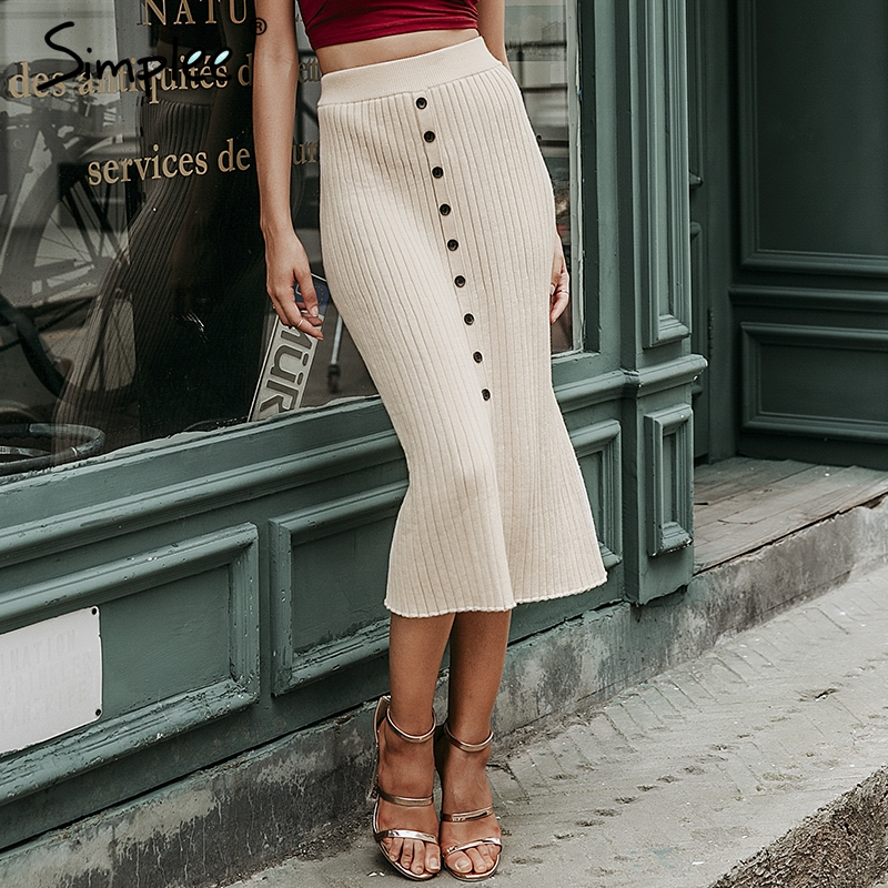 Simplee Autumn knitted women skirts Vintage A-line buttons solid midi skirts Elegant ladies bodycon stretch pencil office skirts image