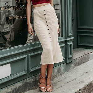 Image 1 - Simplee Autumn knitted women skirts Vintage A line buttons solid midi skirts Elegant ladies bodycon stretch pencil office skirts