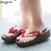Whoholl Geta Japanese-style Wooden Slippers Women Sandals Clogs Rubber Non-skid Summer Womens Solid Thick Bottom Wedge