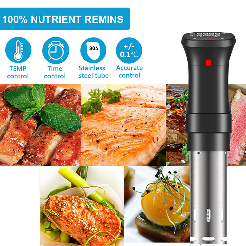 Vacuum Slow Sous Vide Food Cooker 1100W 20L Powerful Immersion Circulator Machine LCD Digital Timer Display Stainless Steel