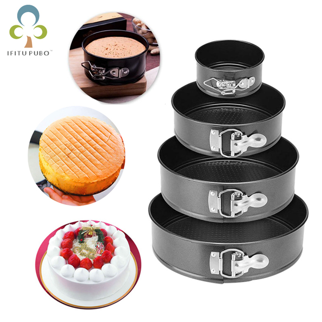 $ US $3.25 Carbon Steel Bakeware Cakes Molds Non-Stick Metal Bake Mould Removable Bottom Bakeware Cake Supplies Round Cake Baking Pan ZXH