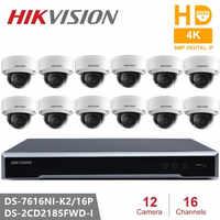 Hikvision integrado Plug & Play NVR Kits CCTV, 16CH de NVR y DS-2CD2185FWD-I Video monitoreo enteramente 8MP H.265 cámara de red domo