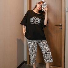Women's pajamas casual pajamas summer thin women's short-sleeved zebra striped cropped trousers home pajamas