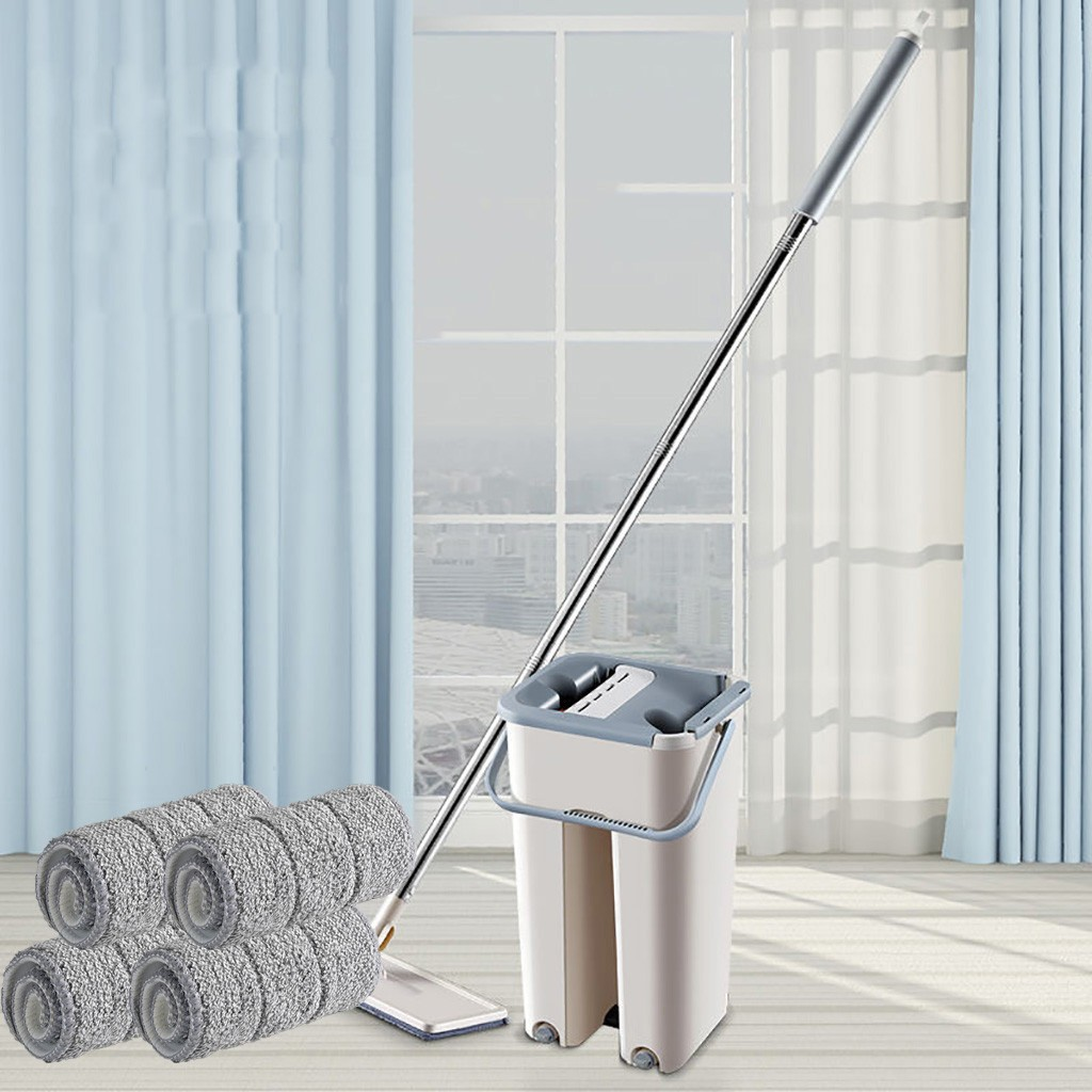 Mop Cloth with Bucket Bucket Hand Free Wringing Mop Self Wet And Cleaning System Dry Cleaning Microfiber Mop Floor ##6