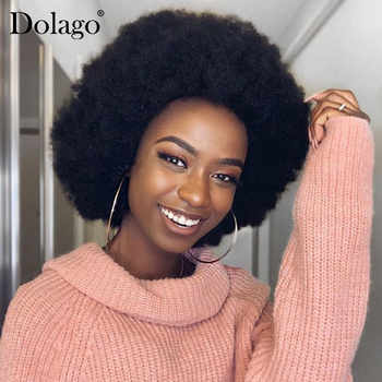 Mongolian Afro Kinky Culy Lace Front Human Hair Wigs Short Human Hair Lace Front Bob Wig Pre Plucked Dolago Remy 130% 13x4 - DISCOUNT ITEM  40% OFF All Category