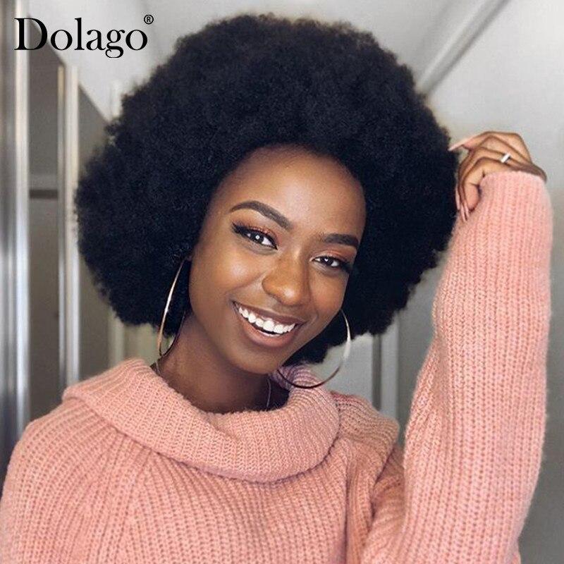 Mongoolse Afro Kinky Culy Lace Front Menselijk Haar Pruiken Kort Menselijk Haar Kant Voor Bob Pruik Pre Geplukt Dolago Remy 130% 13x4